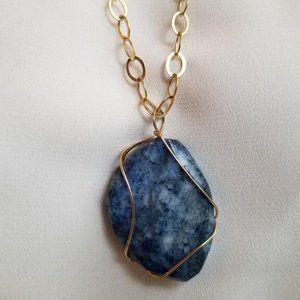 Gold Encased Blue Stone Oval Pendant Necklace